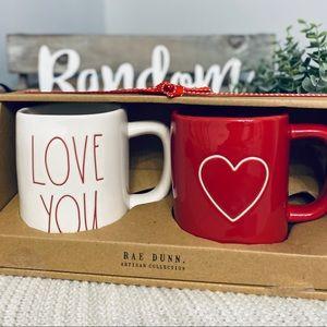 NWT Rae Dunn LOVE YOU RED HEART ♥️ Mug Set